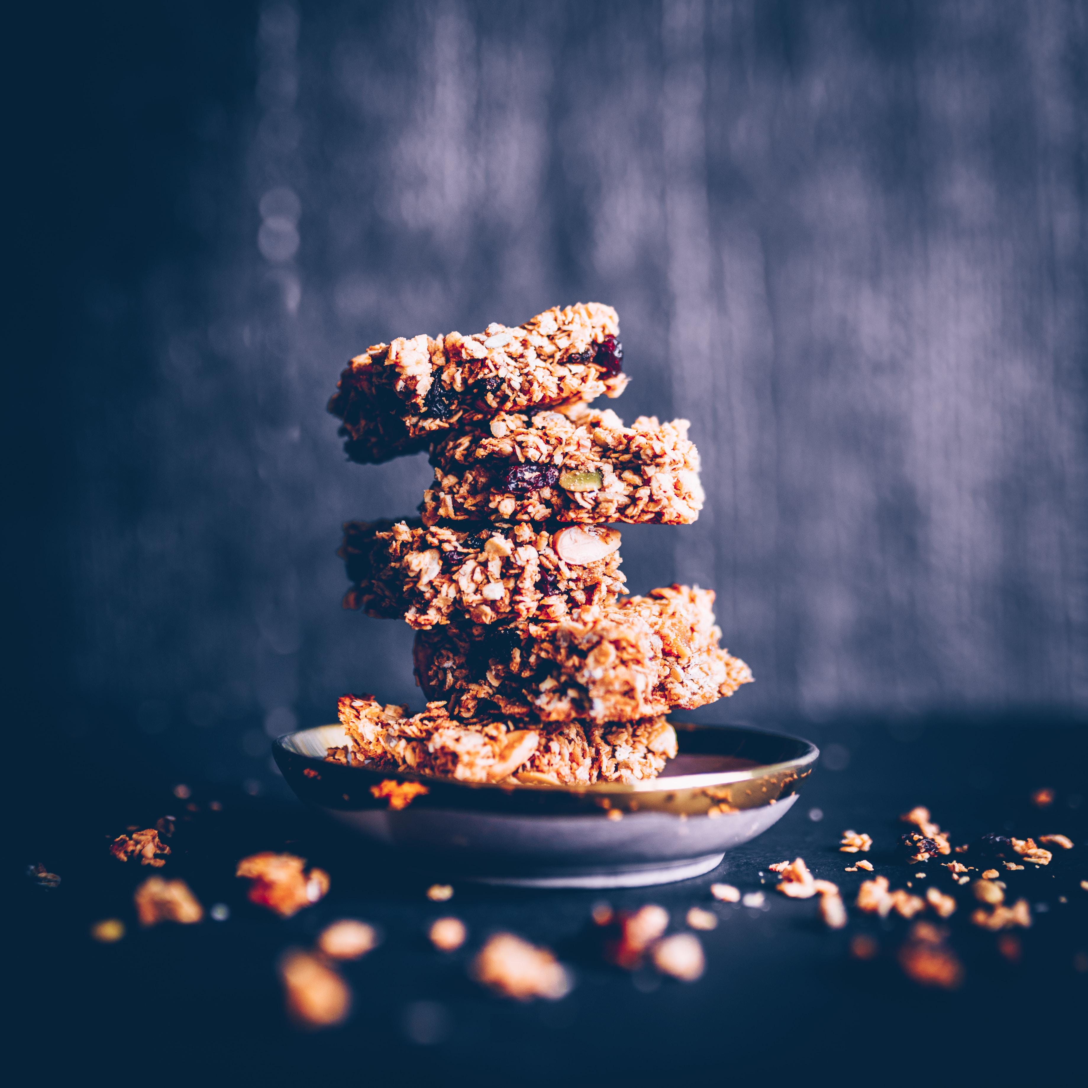homemade granola bars with seeds and raisins